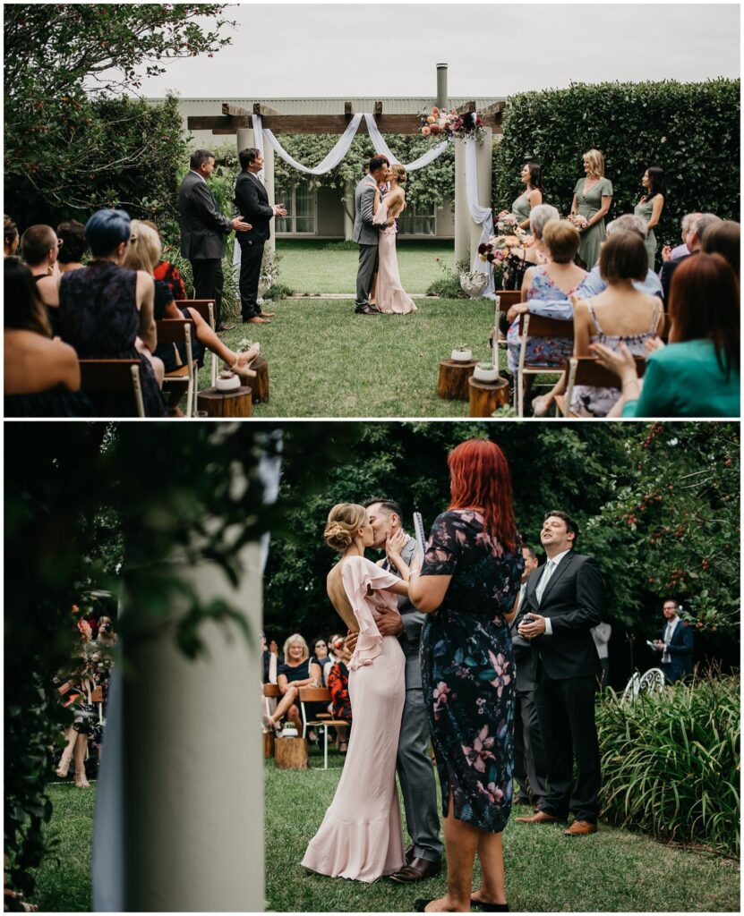 Man and Woman Sharing Their First Kiss As A Married Couple In Gardens At Tabula Rasa